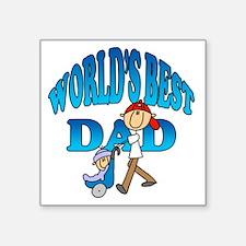 """Worlds Best Dad Square Sticker 3"""" x 3"""""""