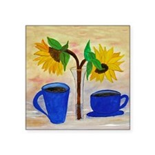 "Morning Coffee Square Sticker 3"" x 3"""