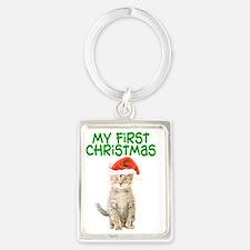 My First Christmas Portrait Keychain