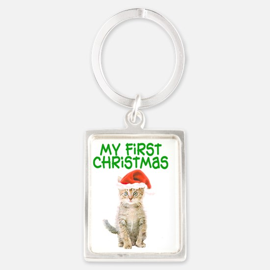 My First Christmas Portrait Keychain