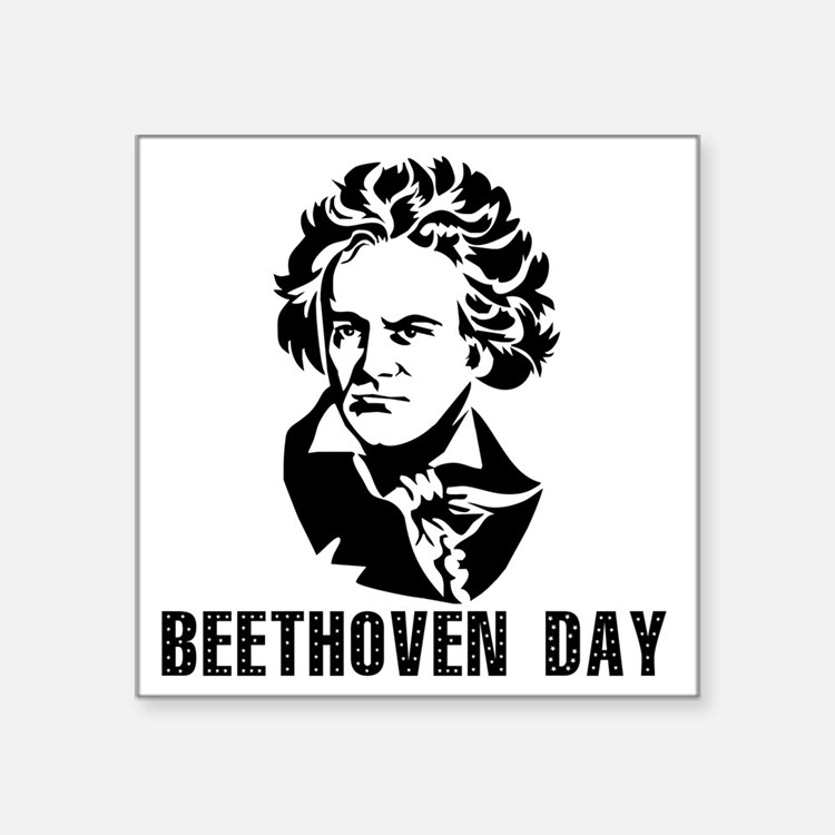 """Beethoven Day Square Sticker 3"""" x 3"""""""