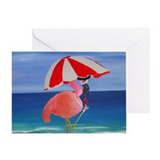 Flamingo Beach Wine Greeting Card