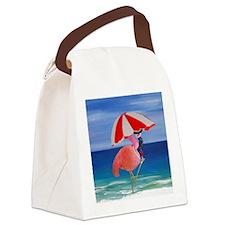 Flamingo Beach Wine Canvas Lunch Bag