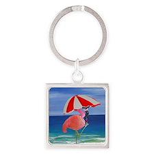 Flamingo Beach Wine Square Keychain