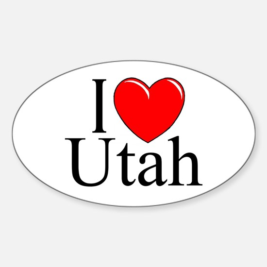 """""""I Love Utah"""" Oval Decal"""