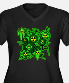 RADIOACTIVE Women's Plus Size Dark V-Neck T-Shirt