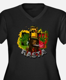 RASTA Women's Plus Size Dark V-Neck T-Shirt