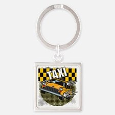 TAXI-LIGHT-TEE-DESIGN Square Keychain