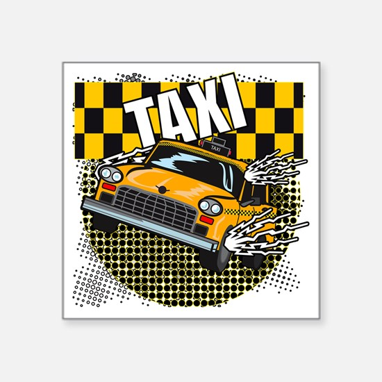 "TAXI-LIGHT-TEE-DESIGN Square Sticker 3"" x 3"""