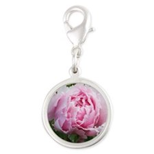 pink peony sq Silver Round Charm