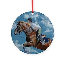 Horse Jumper in the Clouds Round Ornament