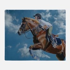Horse Jumper in the Clouds Throw Blanket