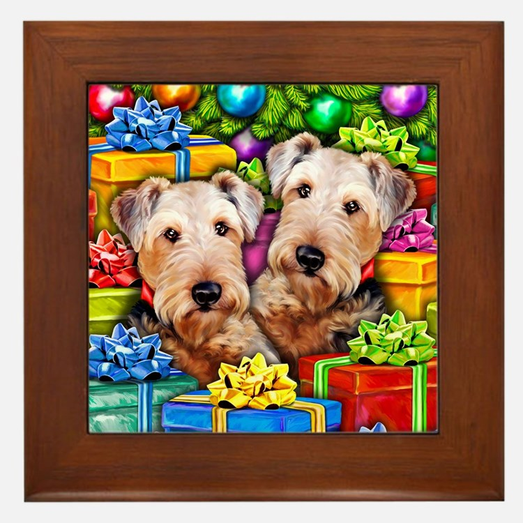 Airedale Terrier Christmas Framed Tile