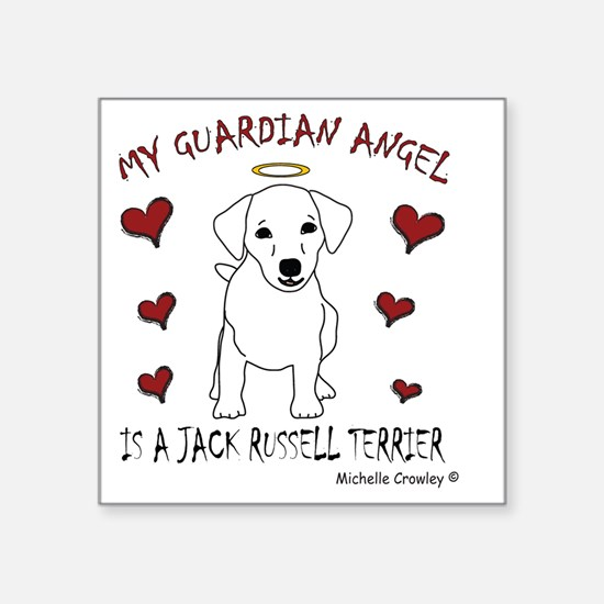 "JackRussellWt Square Sticker 3"" x 3"""