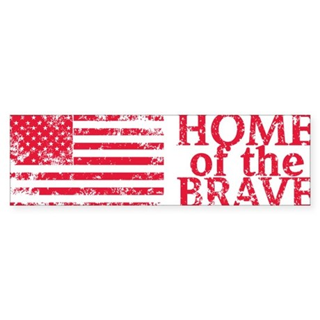 Home-of-the-Brave-Red Sticker (Bumper)