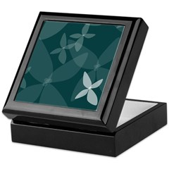 Flower Art (sea blue) Keepsake Box