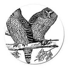 Two Owls Round Car Magnet