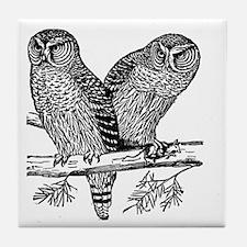 Two Owls Tile Coaster