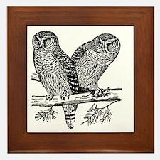 Two Owls Framed Tile