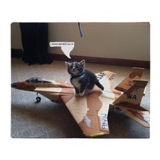 Kitty Fighter Pilot Throw Blanket