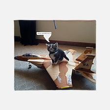 Kitty Fighter Pilot Throw Blanket