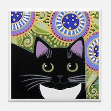 Black Tuxedo Cat And Fantasy Flowers ART Tile