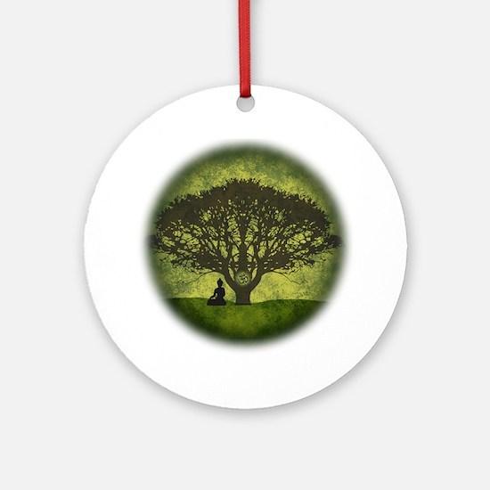 Buddha Beneath the Bodhi Tree Round Ornament