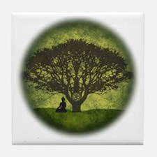Buddha Beneath the Bodhi Tree Tile Coaster