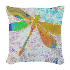 Green Dragonfly Notecard Woven Throw Pillow