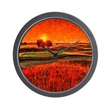 Fiery Sunrise Over the 16th Green Showe Wall Clock
