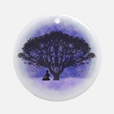 Buddha Beneath the Bodhi Tree-Light Round Ornament