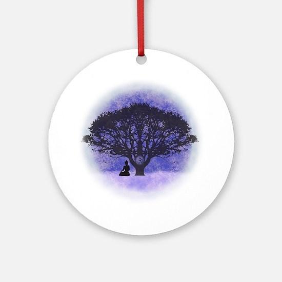 Buddha Beneath the Bodhi Tree-Light Round Ornament