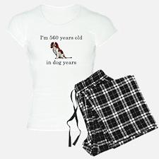 80 birthday dog years springer spaniel Pajamas