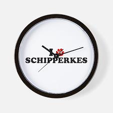 I Heart (Pawprint) Schipperkes Wall Clock
