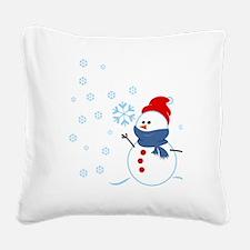 Cute Snowman Square Canvas Pillow