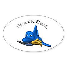 Funny Shark Bait (Bite) Design Oval Decal