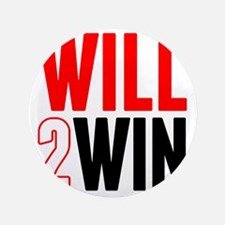 """Will2Win Red and Black 3.5"""" Button"""