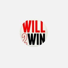 Will2Win Red and Black Mini Button