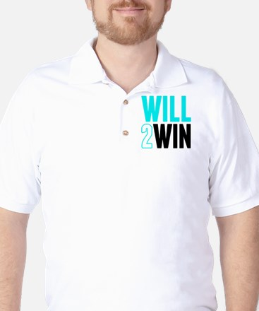 Will2Win Baby Blue  Black Golf Shirt
