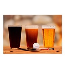 Beer with golf ball Postcards (Package of 8)