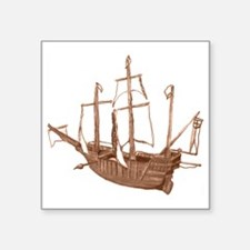 "Sepia Santa Maria Boat by K Square Sticker 3"" x 3"""