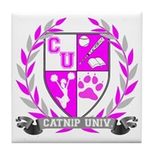 Catnip Crest for black Tile Coaster