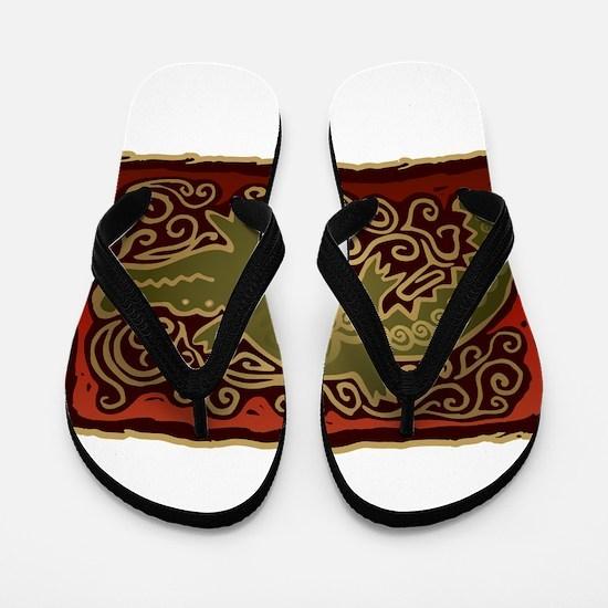 Southwest Alligator Design Flip Flops