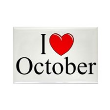 """""""I Love October"""" Rectangle Magnet"""