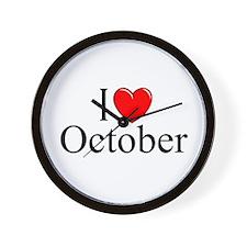 """I Love October"" Wall Clock"