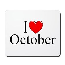 """I Love October"" Mousepad"