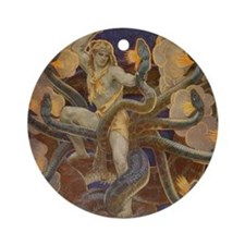 Hercules and the Hydra Round Ornament