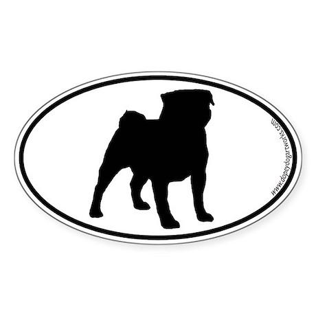 Pug SILHOUETTE Oval Sticker