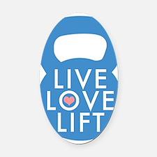 Blue Live Love Lift Oval Car Magnet