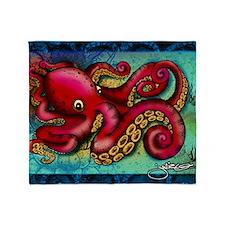 Octopus framed print Throw Blanket